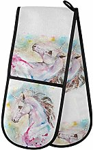 MNSRUU Oven Gloves, Watercolor Horse Double Oven