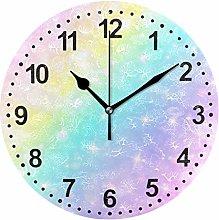 Mnsruu Pastel Color Round Wall Clock Non Ticking