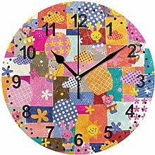 Mnsruu Patchwork Round Wall Clock Non Ticking