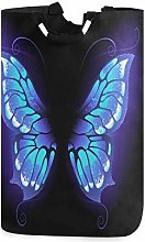 Mnsruu Purple Butterfly Wing Laundry Basket Hamper