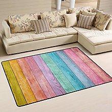 Mnsruu Rainbow Wooden Plank Area Rug Rugs for