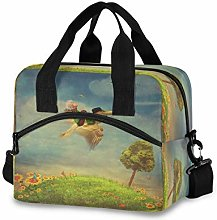 Mnsruu Reusable Lunch Bag Little Boy and Brown