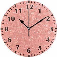 Mnsruu Rose Gold Pink Wall Clock for Bedroom