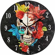 Mnsruu Round Silent Wall Clock, Skull With Flowers