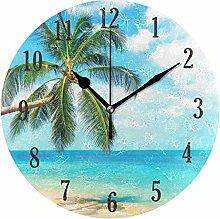 Mnsruu Round Silent Wall Clock, Tropical Beach