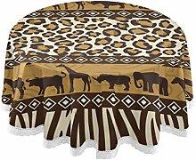 MNSRUU Round Tablecloths, African Animals Giraffe