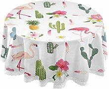 MNSRUU Round Tablecloths, Cactus And Flamingo