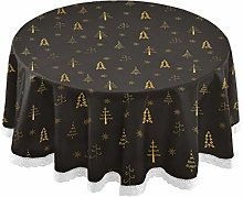 MNSRUU Round Tablecloths, Christmas Gold Tree And