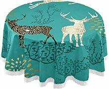 MNSRUU Round Tablecloths, Christmas Reindeer