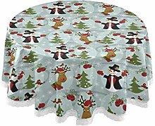 MNSRUU Round Tablecloths, Christmas Snowman
