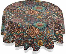 MNSRUU Round Tablecloths, Colorful Moroccan Style