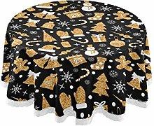 MNSRUU Round Tablecloths, Golden Christmas Tree
