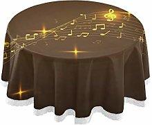 MNSRUU Round Tablecloths, Golden Music Notes