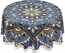 MNSRUU Round Tablecloths, Indian Boho Floral