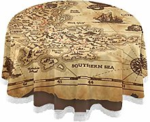 MNSRUU Round Tablecloths, Pirate Treasure Map