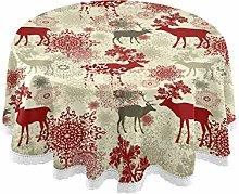 MNSRUU Round Tablecloths, Retro Christmas Reindeer