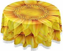 MNSRUU Round Tablecloths, Sunflower Decorative