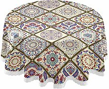 MNSRUU Round Tablecloths, Vintage Turkish Pattern
