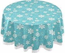 MNSRUU Round Tablecloths, White Snowflakes