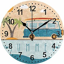 Mnsruu Round Wall Clock Bus with Surfboard Non