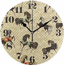 Mnsruu Round Wall Clock Silent Non Ticking, Retro