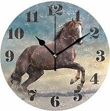 Mnsruu Round Wall Clock Silent Non Ticking,