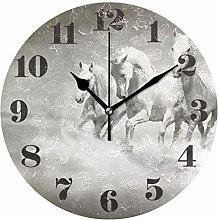 Mnsruu Round Wall Clock Silent Non Ticking, White