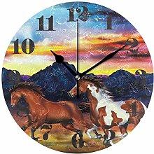Mnsruu Round Wall Clock Silent Non Ticking, Wild