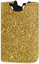 Mnsruu Shiny Gold Glitter Shimmer Laundry Basket