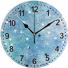 Mnsruu Silver Stars Round Wall Clock Non Ticking