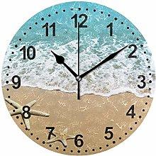 Mnsruu Starfish Round Wall Clock Non Ticking