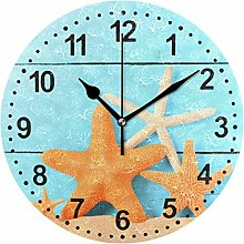 Mnsruu Starfishes Wall Clock Non Ticking Silent