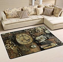 Mnsruu Steampunk Ancient Gear Clock Area Rug for