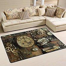 Mnsruu Steampunk Ancient Gear Clock Area Rug Rugs
