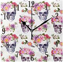 MNSRUU Stylish Modern Wall Clock, Round Skull With