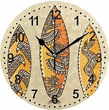 Mnsruu Surfboards Round Wall Clock Non Ticking