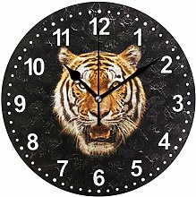Mnsruu Tiger Round Wall Clock Non Ticking Silent