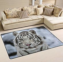 Mnsruu Tiger Snow Area Rug Rugs for Living Room