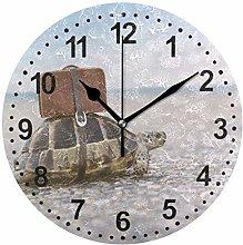 Mnsruu Turtle Round Wall Clock Non Ticking Silent