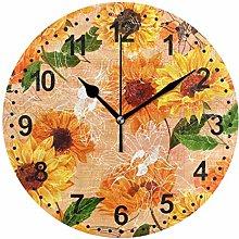 Mnsruu Vintage Sunflowers Round Wall Clock Non