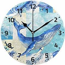 Mnsruu Vintage Whale Fish Wall Clock Non Ticking