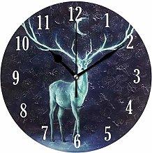 Mnsruu Wall Clock, Battery Operated Round Deer