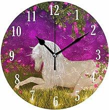 Mnsruu Wall Clock, Battery Operated Round Unicorn