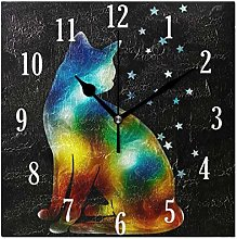 Mnsruu Wall Clock, Cat With Stars Clock Innovative