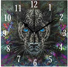Mnsruu Wall Clock, Ferocious Panther With Flowers