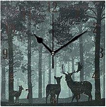 Mnsruu Wall Clock, Forest With Deer Clock