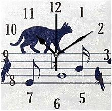 MNSRUU Wall Clock, Musical Notes With Cats Birds