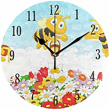 Mnsruu Wall Clock, Round Bees With Flowers Whisper