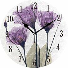 Mnsruu Wall Clock, Round Purple Flowers Battery