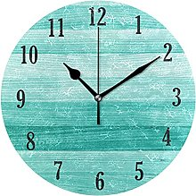 Mnsruu Wall Clock Round Teal Turquoise Green Wood